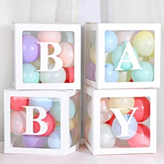 Baby Shower Boxes Party Decorations - 4 pcs Transparent Balloons Decor Boxes with Letter Baby Blocks for Boy Girl Baby Shower Wedding Birthday Party Decoration Backdrop