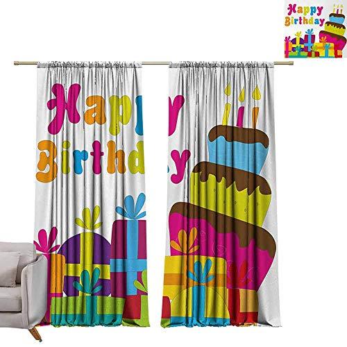 Tr.G gordijnpanelen, set van 2 moderne boerderij landgordijnen verjaardag, kleurrijke vreugdevolle burst met champagne flessen taart ballonnen feestelijke viering, Multi kleuren