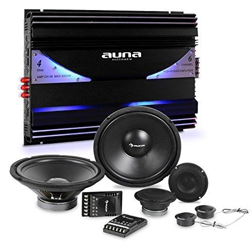 electronic star auna CS-Comp-12 Car-HiFi-Set Lautsprecher Set + 6-Kanal-Endstufe (2 x 2000 Watt Subwoofer, 2 x 2000 Watt Mitteltöner und 2 x 1,57