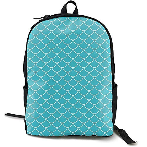 Daypacks, Casual Large College School Daypack - Laptop Outdoor rugzak voor Teal Blue Mermaid Scales rugzak