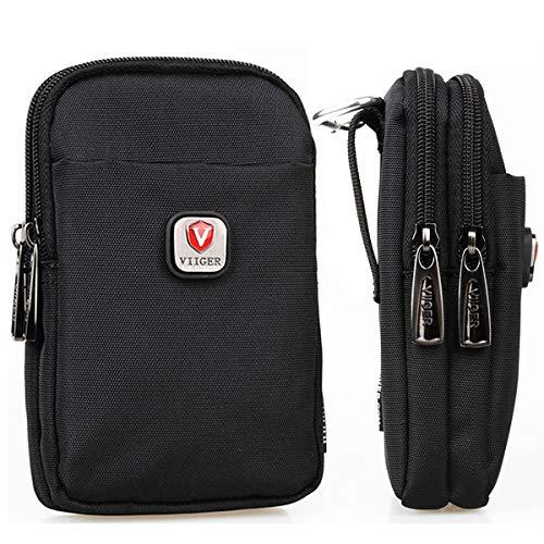 VIIGER Versatile Nylon Dual Phone Holster Cellphone Belt Case Holder Mens Belt Pouch w/ Clip Smartphone Belt Loop Pouch Bag 2 Zipper Pockets Compatible with iPhone 12 Pro Max XS Max 6 7 8 Plus,Black