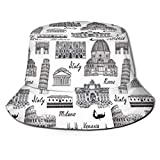 Unisex Summer Fisherman cap,Monochrome Sketch Style Famous Places from Italy Rome Milano European Architecture,Travel Beach Outdoor Sun Hat