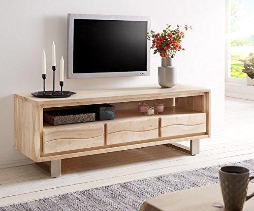 DELIFE Fernsehtisch Live-Edge Akazie Gebleicht 146 cm 3 Schübe Fach Baumkante Lowboard