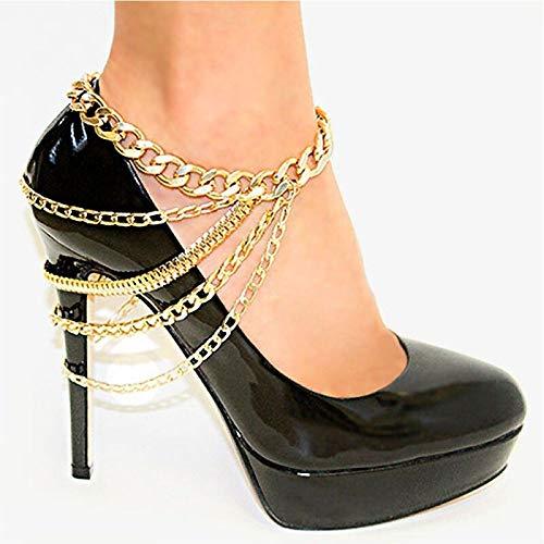 juntao Zapato de tacón alto con cadena multicapa, para tobillo y playa, ideal como regalo para mujeres y niñas, tobillera 2021 (color metálico: oro)