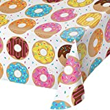 Creative Converting All Over Print Plastic Tablecover, Donut Time -