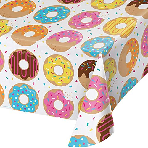 Creative Converting All Over Print Plastic Tablecover with a colorful donut design