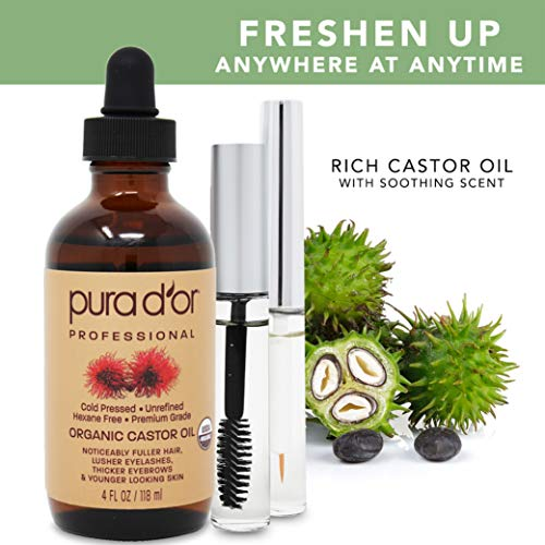PURA D'OR Organic Castor Oil (118 mL) 100% Pure USDA Certified All Natural Hair Oil for Eyebrows, Eyelashes - Cold Pressed Hexane Free Oil to Moisturize Dry Skin - Includes Two Bonus Brush Kit