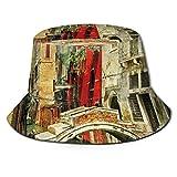 Cappello da pilota del pescatore del marinaio del violino del marinaio, stile vintage, stampa artistica del paesaggio veneziano storico