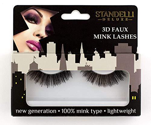 Standelli - Falsche Wimpern, 3D Faux Mink Lashes, handgemachte künstliche Wimpern aus Faux-Nerz Fasern - sehr leicht, dick und lockig
