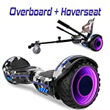 COLORWAY Overboard Hover Scooter Board Gyropode Bluetooth SUV 6.5 Pouces, Scooter Electrique Moteur 700W Tout-Terrain, Self-Balance Board avec Roues LED Flash + Hoverkart (Vert-Militaire LED)