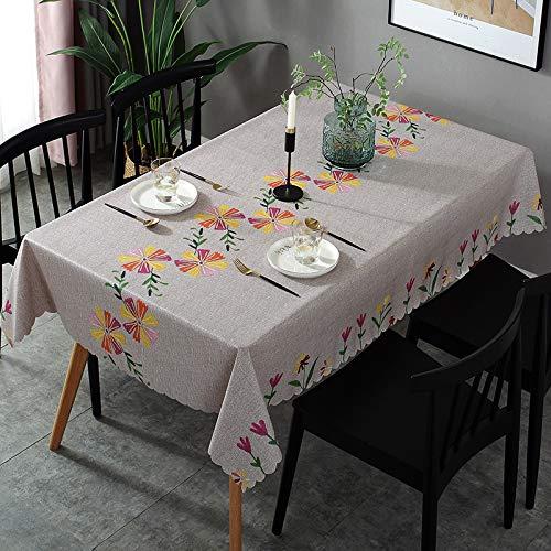 NOBCE Mantel Mesa Rectangular Plástico PVC Impermeable y a Prueba de Aceite Moderno y Simple. Tulip 120x170