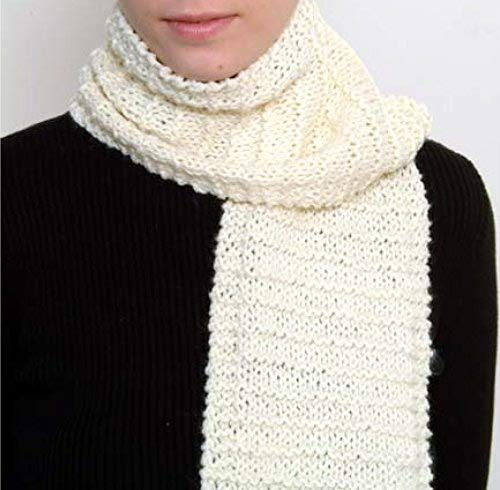 'Beginner's Scarf' Knit Kit with Encore Worsted Yarn (Creamy White)