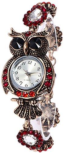 Oyedens Quarzuhr Damen Jahrgang Eule Mode Quarzuhr Armband Armreifen Watch Uhr Damen Uhr Kinder Mädchen Valentinstag, Muttertag,Geburtstags Geschenk(B)
