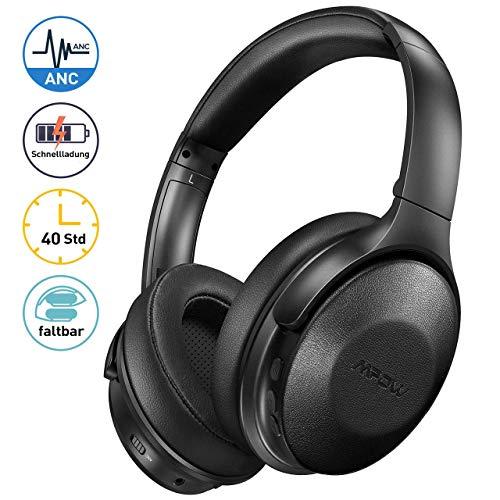 Noise Cancelling Kopfhörer Mpow, Bluetooth Kopfhörer Over Ear mit 40Std, Kopfhörer Kabellos mit Schnellladen und Mikrofon CVC6.0, ANC Kopfhörer mit 40mm HiFi Deep Bass für Telefon/TV/PC\nthanks