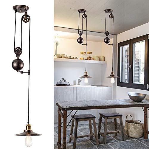 Lámpara Colgante de Polea Escamoteable Industrial Acabado de bronce frotado con aceite Lámpara de techo Vintage Design para bar, pub, restaurante, galería, cafetería