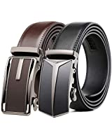 Mens Belt 2 Pack,Leather Ratchet Click Belt Dress with Slide Buckle 1 3/8