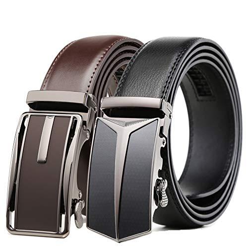 Mens Belt 2 Pack,Leather Ratchet Click Belt Dress with Slide Buckle 1 3/8' in Gift Set Box- Size Adjustable (28'-42' Waist Adjustable, Ratchet Belt Black/Dark Brown)