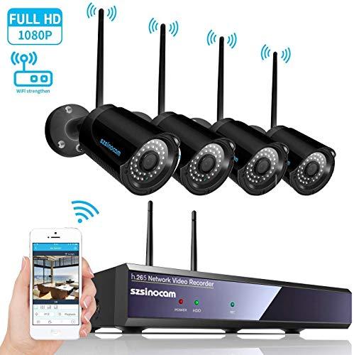 Sistema de cámara de seguridad, SZSINOCAM 1080P NVR 4 200W Wifi Cámara IP wireless Sistema de seguridad Kit 1080P IP66 Impermeable Cámaras IR Visión alarma por correo electrónico, sistema de segurida