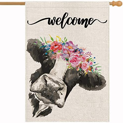 Welcome Floral Crown Cow Garden Burlap Flag 28 x 40 Inch Vertical Double Sided Spring Summer product image