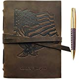 Patriotic Gift American Flag & Eagle Leather Journal Notebook USA Flag/Eagle Embossed Design Handmade Travel Diary, A5 Vintage Writing for Men For Women Veteran Day Gift Leather 6'x8' +Pen