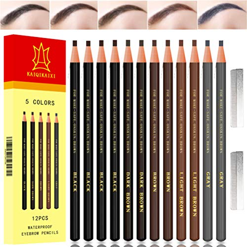 Waterproof Eyebrow Pencils Brow Pencil Set For Marking, Filling And Outlining, Tattoo Makeup And Microblading Supplies Kit-Permanent Eye Brow Liners In, 12Pcs 5Colors(4Black6Brown2Gray) (Multicolor)