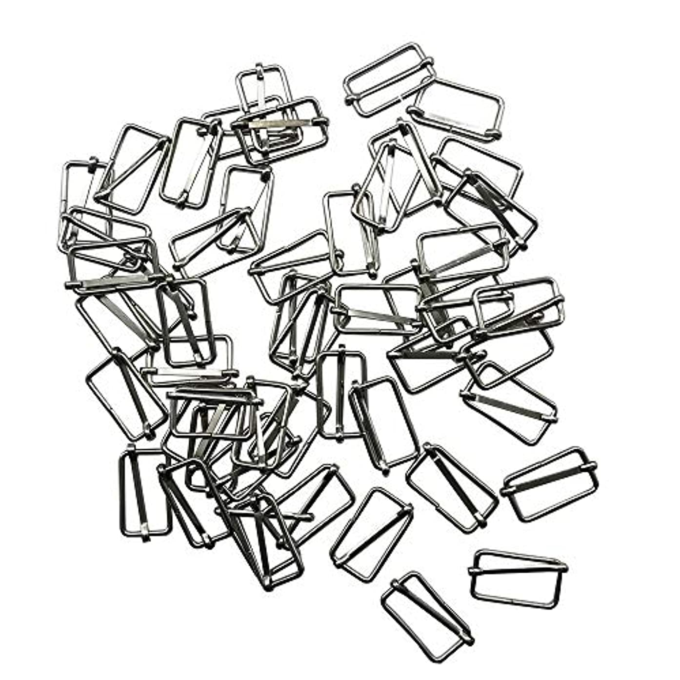 50 Pieces Slide Buckle 1 inch 1 1/2 inch 2 inch Metal Triglide Slides Rectangle Adjustable Webbing Slider for Fasteners, Strap, Backpack DIY Accessories (2 inch),Q2015