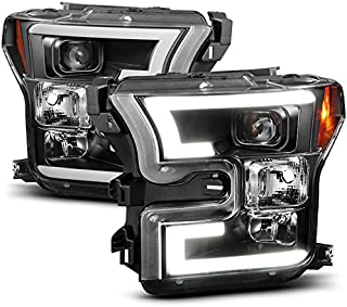 For 15-17 Ford F-150 F150 [Factory LED DRL Tube Type] Black Bazel Projector Headlights Lamps