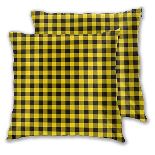 erjing Pack of 2 Soft Decorative Square Throw Pillow Covers, Yellow Buffalo Plaid Cushion Cases Pillowcases for Sofa Bedroom Car,20 x 20 Inch