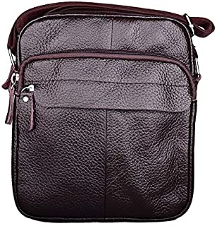 DIEBELLAU Classic Leather Men's Shoulder Bag Casual Messenger Bag Youth Vertical Men's Small Backpack Men's Bag (Color : Brown)