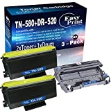 (2 Black Toner Cartridges, 1 Drum Unit) Compatible High Yield TN-580 TN580 Toner Cartridge and DR-520 Drum Unit Used for Brother DCP-8065DN HL-5240 5250DN 5340D MFC-8890DW 8460N Printer, by EasyPrint