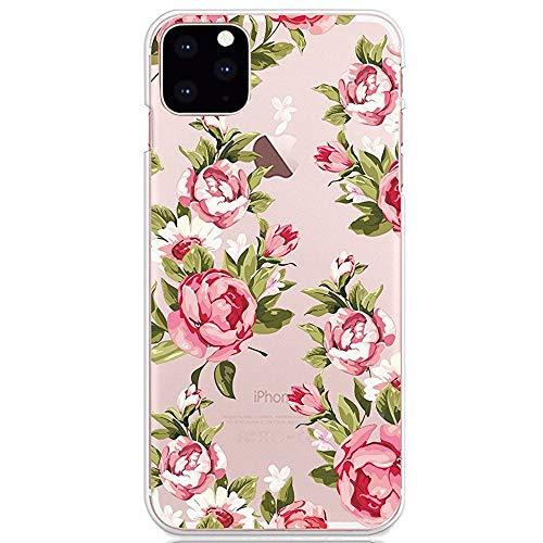 CrazyLemon Hülle für iPhone 12, Soft TPU Flex Silikon Transparent Ultra Dünn Schlank Bumper Handyhülle Premium Kratzfest TPU Schutzhülle - Kleine Rose