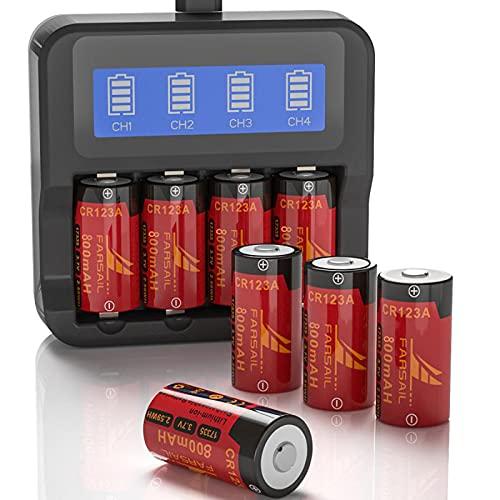 Arlo Rechargeable Batteries 123A Charger, FARSAIL 4-Pack 800mAH 3.7V 123A Arlo Rechargeable Batteries for Arlo Camera VMS3130 VMC3030 VMK3200 VMS3330 3430 3530, Alarm System, Flasglight