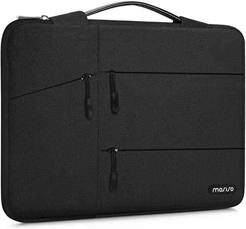 MOSISO 360 Schutz Laptop Sleeve Kompatibel mit MacBook Pro 16 Zoll, 15 15,4 15,6 Zoll Dell Lenovo HP Asus Acer Samsung Sony Chromebook, Polyester Tasche mit Organizer Tasche und Trolley Gürtel, Schwarz
