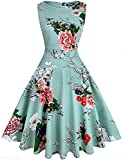 OWIN Women's Vintage 1950's Floral Spring Garden Rockabilly Swing Prom Party Cocktail Dress White Cherry