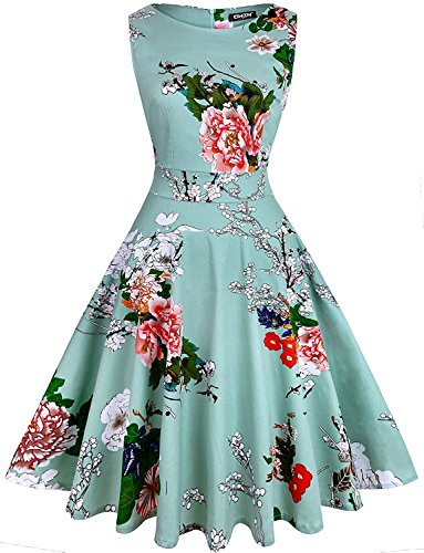 OWIN Women's Vintage 1950's Floral Spring Garden Party Dress Party Cocktail Dress (M, Ice Blue)