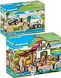 Country Playmobil 6927 70511 - Juego de 2 sillas de ponis y coches con remolque de ponis