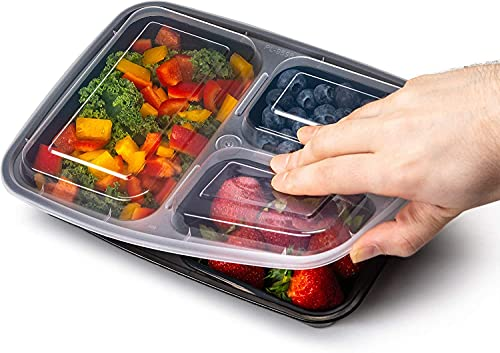 EZ Prepa [20 Pack] 32oz 3 Compartment Meal Prep Containers with Lids - Bento Box - Durable BPA Free Plastic Reusable Food Storage Containers - Stackable, Reusable, Microwaveable & Dishwasher Safe