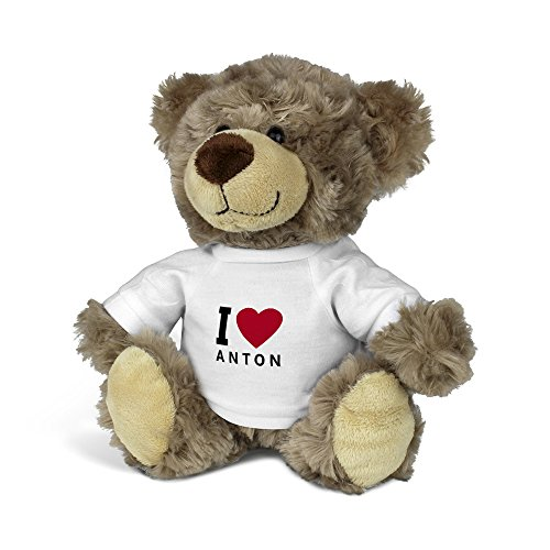 printplanet® Teddybär mit Namen Anton - Kuscheltier Teddy mit Design I Love