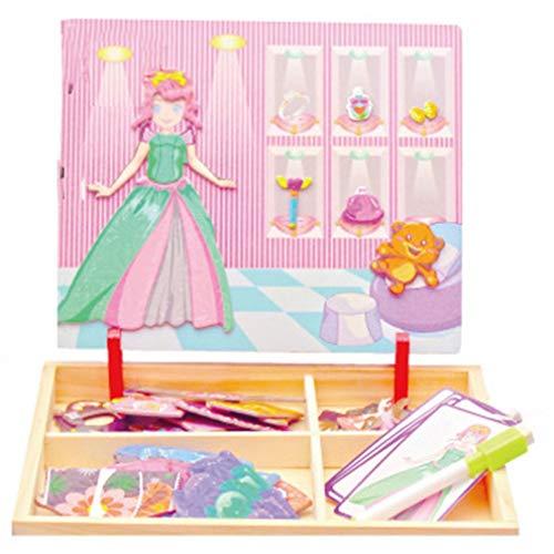 Kinshops Educación Infantil temprana Imán Rompecabezas Juguete Madera Cerebro Juego Princesa Vestir