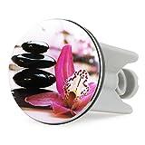 Grinscard Waschbecken Stöpsel Zen Orchidee Design - 7 x 4 cm - Blumen Motiv Spülbecken Abflussstopfen als Geschenk