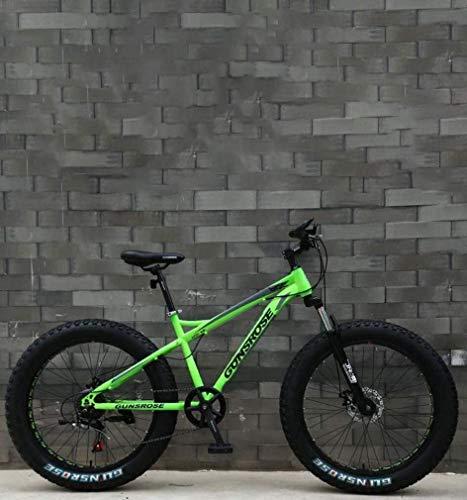 Fat Tire Adulti Mountain Bike, Doppio Freno a Disco in Acciaio /-Alto tenore di Carbonio Telaio Cruiser Bikes, Spiaggia motoslitta Bicicletta, 26 Pollici Ruote (Color : Green, Size : 21 Speed)