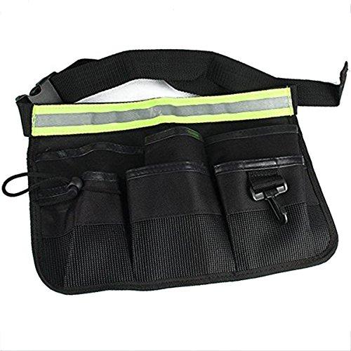eoocvt Waterproof 600D Oxford Tool Belt Waists Utility Pockets Apron with Adjustable Waist Strap - Black
