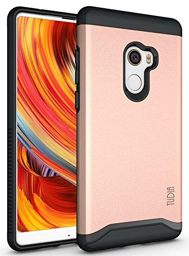 TUDIA Xiaomi Mi Mix 2 Funda, Caja Protectora Merge Tarea Pesada Protección Extreme de Doble Capa para Xiaomi Mi Mix 2 (Oro Rosa)