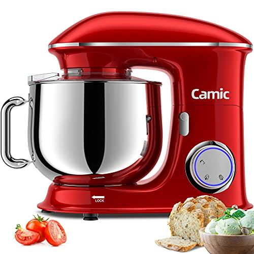 Camic Impastatrice Planetaria, 1500W 8 Litri Robot da Cucina con ciotola di acciaio inossidabile, Robot da cucina grandi 6 velocità con, impastatrice da cucina (8 L, rosso)