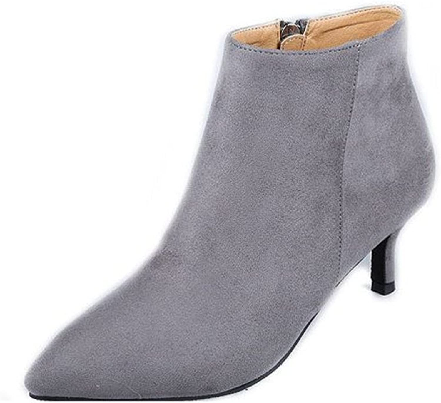 CHENSF Women's Fashion Zipper Ankle High Booties