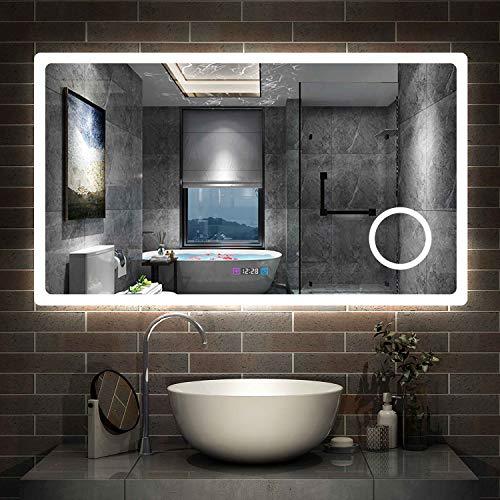 AicaSanitär LED Badspiegel 120×70cm 3 Lichtfarbe 2700-6500K dimmbar Wandspiegel mit Uhr, Touch, Beschlagfrei,3-Fach Vergrößerung Schminkspiegel IP44 Kalt/Neutral/Warmweiß energiesparend