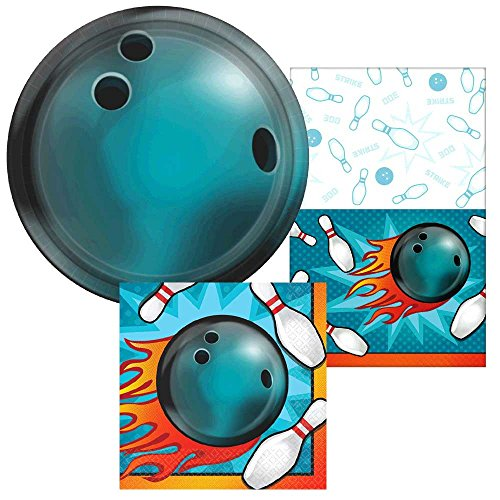 16 ct. Bowling Beverage Napkins, 8 ct. 7 Bowling Round Dessert Plates and One Bowling Plastic Table Cover Party Bundle