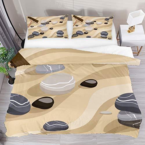 BOLIMAO 3 Pieces Zen Garden Sand Stone Duvet Cover Set Double Size 79'x79' Breathable Bedding Sets for Kids Children Girls Boys (No Comforter)