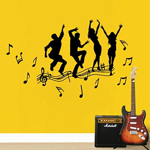Música Y Danza Diy Vinilo Adhesivos De Pared Sala De Estar Dormitorio Habitación Infantil Hogar Mural Decorativo Papel Pintado De Arte 100X60Cm