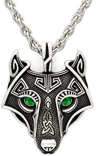 Único hecho a mano antigua plata esmeralda verde ojos Viking Wolf colgante collar antiguo cadena de plata